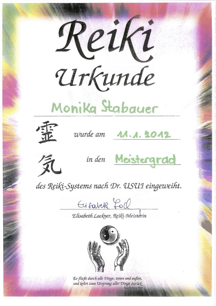 Reiki Diplom Monika Stabauer